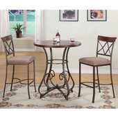 Powell 3-Pc.Hamilton Pub Table Set in Brushed Faux Medium Cherry Wood; Matte Pewter & Bronze Metal, <b>Pub Table: </b>36''Dia. x 42''H<br><b> Bar Stool: </b>19''W x 22-1/2''D x 46''H (<b>Seat Height: </b> 29''H)