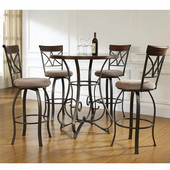 Powell 5-Pc. 42'H Hamilton Pub Table Set in Brushed Faux Medium Cherry Wood with Diamond Pattern Taupe/Beige Swivel Bar Stool