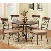Powell 5-Pc. Hamilton Dining Set - in Brushed Faux Medium Cherry Wood; Matte Pewter & Bronze Metal, <b>Table: </b>45''Dia. x 29-1/2''H<br><b> Chair: </b>18-3/4''W x 24-1/4''D x 39-3/4''H (<b>Seat Height: </b>18-3/4''H)