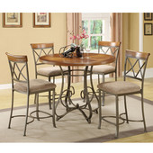 Powell 5-Pc. Hamilton Gathering Set in Brushed Faux Medium Cherry wood; Matte Pewter & Bronze Metal; Fabric: Diamond Pattern, Taupe/Beige, <b>Table:</b> 42''Dia. x 36''H <br><b>Stool:</b> 19''W x 22-1/2''D x 41''H (<b>Seat Height:</b> 24''H)
