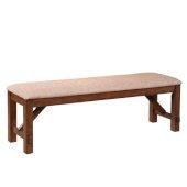 Powell Kraven Dining Bench in Dark Hazelnut with Tan Seat, 60''W x 16''D x 20-1/4''H