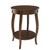 Powell Round Side Table with Shelf in Dark Hazelnut, 18''Dia. X 24''H