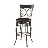 Powell Big and Tall Back to Back Scroll Barstool in Black, 18-7/8''W x 20-1/8''D x 47-1/4''H