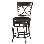 Powell Big and Tall Back to Back Scroll Counter Stool in Black, 19''W x 20''D x 42''H <i>(Seat Height: </b>24''H)</i>
