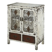 Powell Parcel 2-Door, 2-Drawer Console Tablein Distressed Layered Antique White & Metal Scroll Work, 25-1/2''W x 13-3/4''D x 30''H