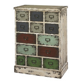 Powell Parcel 13 Drawer Cabinet in Distressed White, 24''W x 13-3/4''D x 32''H