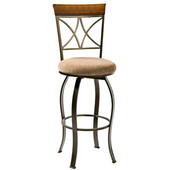 Powell Hamilton Swivel Counter Stool, Brushed Faux Medium Cherry, 17''W x 19''D x 41-3/4''H