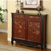 Powell Red Oriental 2-Door Console, 41''W x 11''D x 36''H