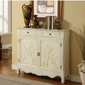 Powell White Hand Painted 2-Door Console, 41''W x 11''D x 36''H