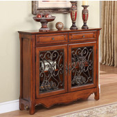 Powell ''Light Cherry'' 2-Door, 2-Drawer Scroll Console, 41''W x 11''D x 36''H
