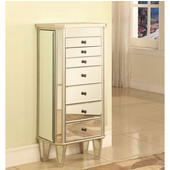 Powell Mirrored Jewelry Armoire with ''Silver'' Wood, 18''W x 12''D x 40-1/2''H