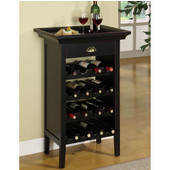 Powell Black with ''Merlot'' Rub through Wine Cabinet, 24''W x 12-1/2''D x 37-1/2''H