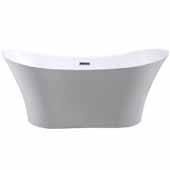 Ariel Platinum Bristol Freestanding Bathtub in White Finish, 74 Gallon Capacity, 67''W x 31-1/2'D x 2/-1/2'H