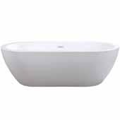Ariel Platinum Tuscany Freestanding Bathtub in White Finish, 87 Gallon Capacity, 71'W x 31-1/2'D x 22'H