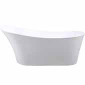 Ariel Platinum Milan Freestanding Bathtub in White Finish, 63 Gallon Capacity, 67'W x 29-1/4'D x 28-1/2'H