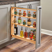 Rev-A-Shelf Wood Pullout Base Organizer w/ Upper Slide, 3''W or 6''W x 23''D x 26-6/16''H