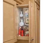 Rev-A-Shelf 5'' Wide Kitchen Upper Wall Cabinet Pull Out Organizer with Perforated Accessory Panel and Soft Close, Min Cab Opening: 5-1/8'' W x 10-7/8'' D x 26-3/8'' H