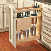 Rev-A-Shelf Knife and Utensil Base Cabinet Organizer with Soft Close in Wood/Stainless Steel, 8-3/4''W x 21-5/8''D x 25-1/2'' to 29-1/2''H, Min Cab Opening: 8-1/2''W x 21-3/4''D x 25-5/8''H