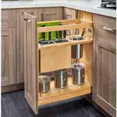 Rev-A-Shelf Knife and Utensil Base Cabinet Organizer with Soft Close in Wood/Stainless Steel, 10-1/4''W x 21-5/8''D x 25-1/2'' to 29-1/2''H, Min Cab Opening: 10-1/2''W x 21-3/4''D x 25-5/8''H