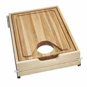 Rev-A-Shelf Cut-Out Cutting Board Drawer with BLUMOTION Soft-Close for 18''W Face Frame Base Cabinets, Natural Maple