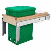 Rev-A-Shelf Single Wood Top Mount Pull-Out 6-gallon Green Compo + Bin with Ball-Bearing Soft-Close Slides, Minimum Cabinet Opening: 12''W x 22-7/8''D x 18''H