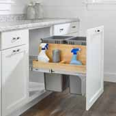 Rev-A-Shelf Double 50 Quart (12.5 Gallon) Pullout Wood Top Mount Silver Waste Container with Side Storage and Ball-Bearing Soft-Close Slides, Minimum Cabinet Opening: 21''W x 22-1/2''D x 23''H