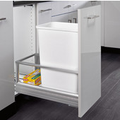 Rev-A-Shelf 50 Quart Single Bin Container with Rev-A-Motion in White, Min. Cabinet Opening: 11-1/2''  Wide