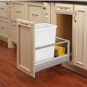 Rev-A-Shelf 35 Quart Single Bin Container with Rev-A-Motion in White, Min. Cabinet Opening: 11-1/2''  Wide