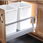 Rev-A-Shelf 35 Quart Double Bin Container with Rev-A-Motion in White, Min. Cabinet Opening: 14-1/2''   Wide
