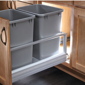 Rev-A-Shelf Double Bin Door Mount Rev-A-Motion Waste Container in Silver, Min. Cabinet Opening: 14-1/2''   Wide