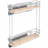 Rev-A-Shelf Two-Tiered Chrome Wire Base Organizer, for 6'' Base Cabinet, Maple, with Blum's TANDEM Heavy Duty BLUMOTION Soft Close Slides