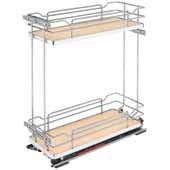 Rev-A-Shelf Two-Tiered Chrome Wire Base Organizer, for 9'' Frameless Base Cabinet, Maple, with Blum's TANDEM Heavy Duty BLUMOTION Soft Close Slides, 7-1/4''W x 21-11/16''D x 24''H