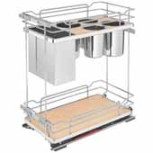 Rev-A-Shelf Two-Tiered Chrome Wire Base Organizer, with Knife Block/ Bins/ Shelf for 12'' Face Frame Base Cabinet, Maple, with Blum's TANDEM Heavy Duty BLUMOTION Soft Close Slides, 11-3/4''W x 21-11/16''D x 24''H
