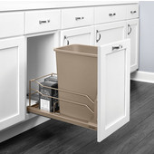 Rev-A-Shelf Undermount Waste Container Single 35 qt (8.75 Gallon), Champagne Bin, Min. Cabinet Opening: 11-1/2''  Wide