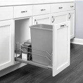 Rev-A-Shelf Undermount Waste Container Single 35 qt (8.75 Gallon), Metallic Silver Bin, Min. Cabinet Opening: 11-1/2''  Wide