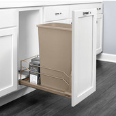 Rev-A-Shelf Undermount Waste Container Single 50 qt (12.5 Gallon), Champagne Bin, Min. Cabinet Opening: 11-1/2''  Wide