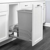 Rev-A-Shelf Undermount Waste Container Single 50 qt (12.5 Gallon), Metallic Silver Bin, Min. Cabinet Opening: 11-1/2''  Wide