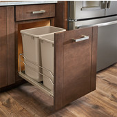 Rev-A-Shelf Undermount Waste Container Double 35 qt (8.75 Gallon), Champagne Bins, Min. Cabinet Opening: 15''  Wide