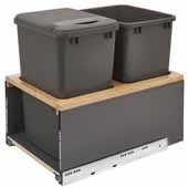 Rev-A-Shelf Double 35 Quart (8.75 Gallon) Metal LEGRABOX Trash Pullout, Orion Gray Can with Natural Maple Insert, Bottom Mount with BLUMOTION Full Extension Soft-Close Slides