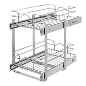 Rev-A-Shelf Pair of Kitchen Cabinet Pull-Out Basket, Chrome, Available in Multiple Sizes