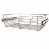 Sidelines by Rev-A-Shelf Closet Wire Pullout Basket, Satin Nickel, 18''W x 14''D x 5''H