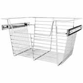 Sidelines by Rev-A-Shelf Closet Wire Pullout Basket, Chrome, 18''W x 14''D x 10''H