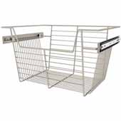 Sidelines by Rev-A-Shelf Closet Wire Pullout Basket, Satin Nickel, 18''W x 14''D x 10''H