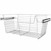 Sidelines by Rev-A-Shelf Closet Wire Pullout Basket, Chrome, 24''W x 14''D x 10''H