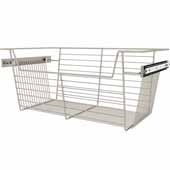 Sidelines by Rev-A-Shelf Closet Wire Pullout Basket, Satin Nickel, 24''W x 14''D x 10''H