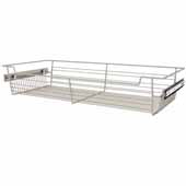 Sidelines by Rev-A-Shelf Closet Wire Pullout Basket, Satin Nickel, 30''W x 14''D x 5''H