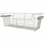 Sidelines by Rev-A-Shelf Closet Wire Pullout Basket, Satin Nickel, 30''W x 14''D x 10''H