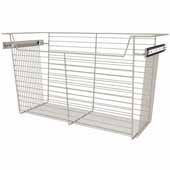 Sidelines by Rev-A-Shelf Closet Wire Pullout Basket, Satin Nickel, 30''W x 14''D x 17''H