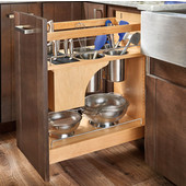 Rev-A-Shelf Knife and Utensil Base Cabinet Organizer with Soft Close in Wood/Stainless Steel, 11-3/4''W x 21-5/8''D x 25-1/2'' to 29-1/2''H, Min Cab Opening: 11-1/2''W x 21-3/4''D x 25-5/8''H