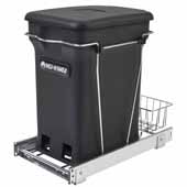 Rev-A-Shelf Single Black 6-gallon Compo+ Container Waste Pullout with Chrome Wire Bottom Mount, Minimum Cabinet Opening: 11''W x 19''D x 18-1/4''H